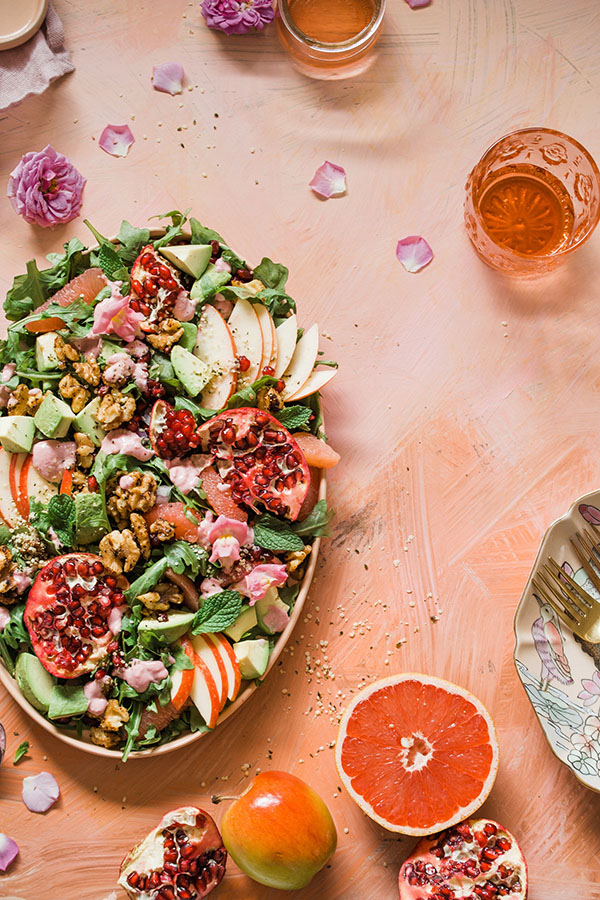 Salad, fruits