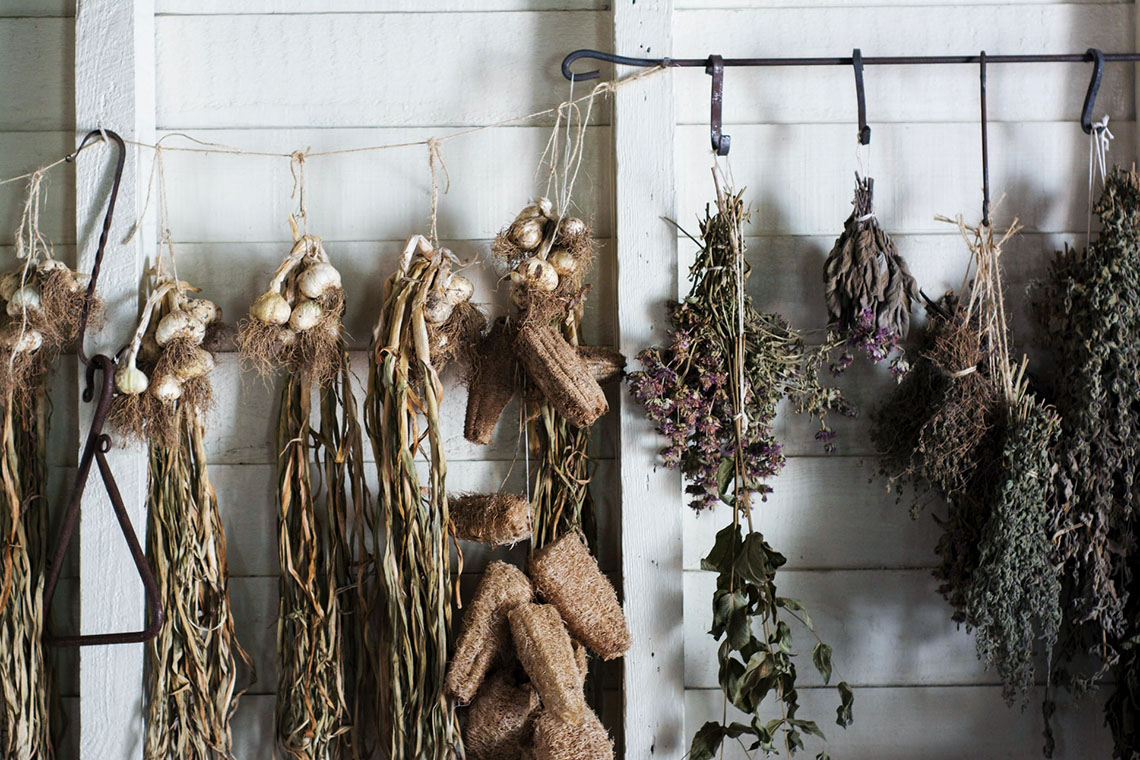 Natural Solutions for Menstrual Painherbs hung to dry -