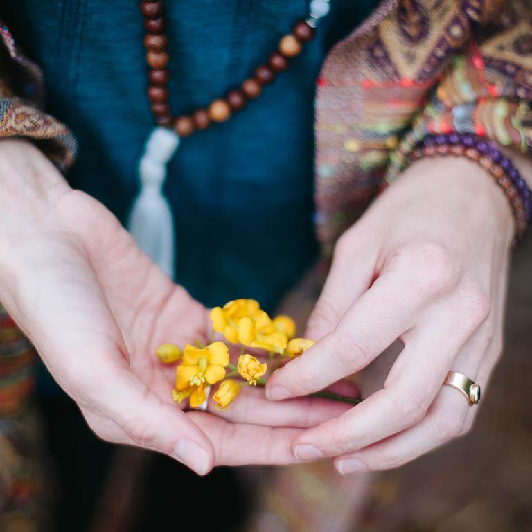 flower buds in hands